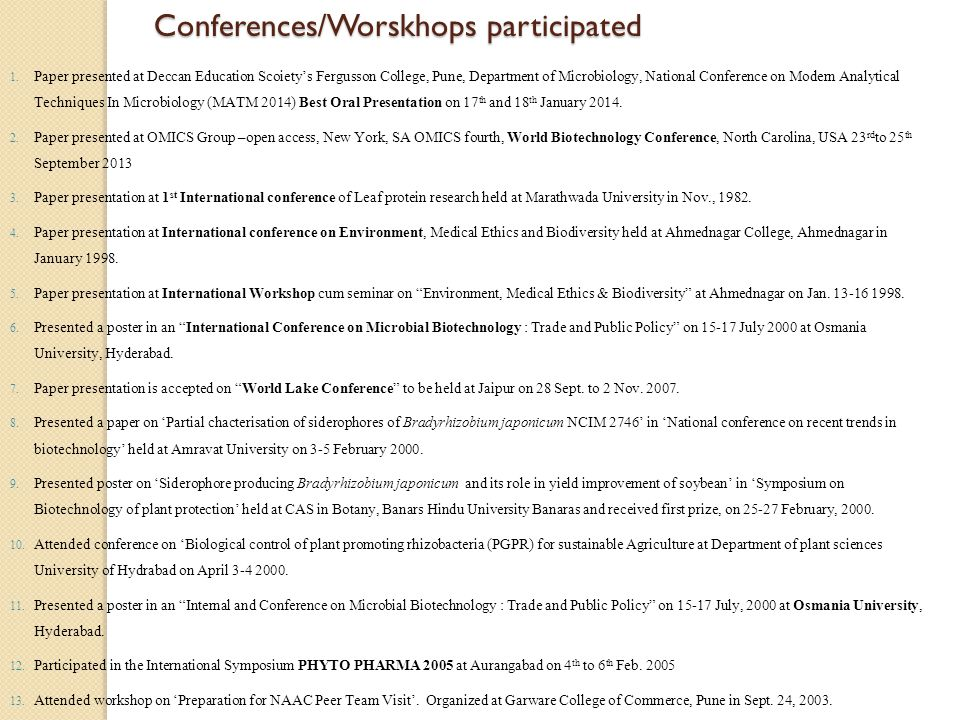 Conferences/Worskhops participated 1.