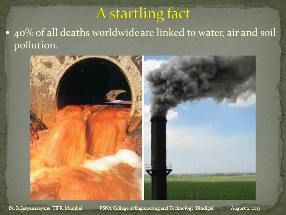 40% of all deaths worldwide are linked to water, air and soil pollution.