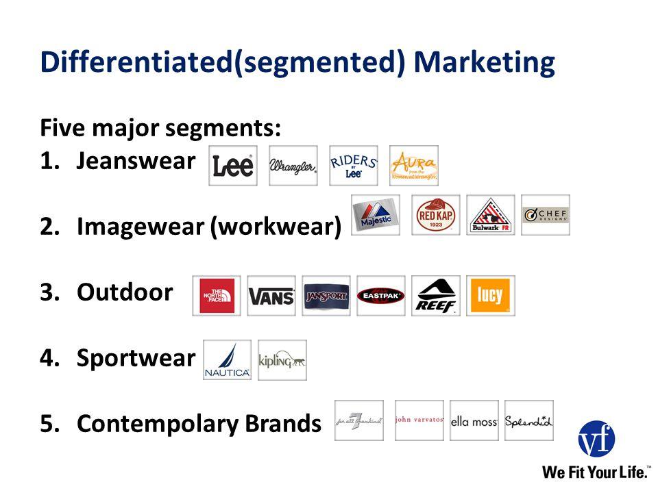 Differentiated(segmented) Marketing Five major segments: 1.Jeanswear 2.Imagewear (workwear) 3.Outdoor 4.Sportwear 5.Contempolary Brands