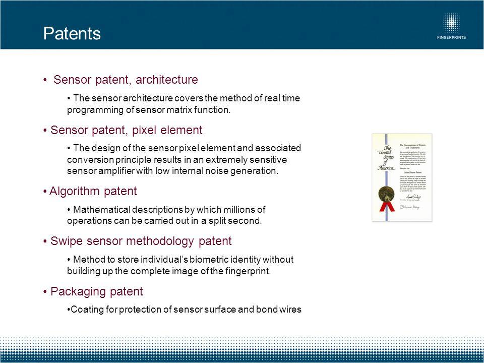 Sensor patent, architecture The sensor architecture covers the method of real time programming of sensor matrix function. Sensor patent, pixel element