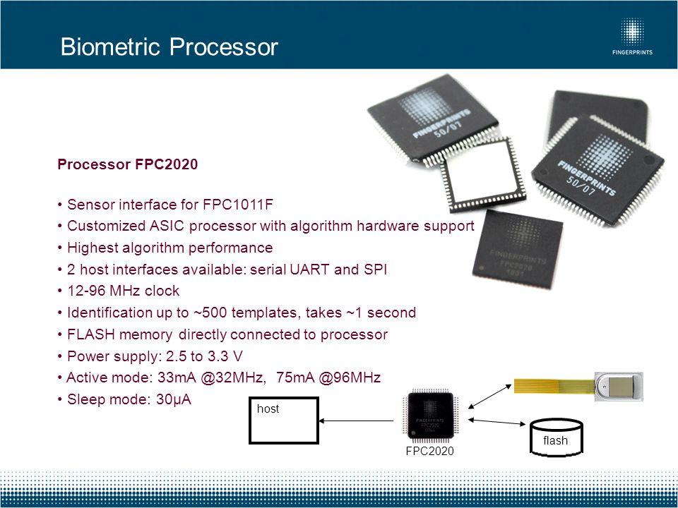 Processor FPC2020 Sensor interface for FPC1011F Customized ASIC processor with algorithm hardware support Highest algorithm performance 2 host interfa