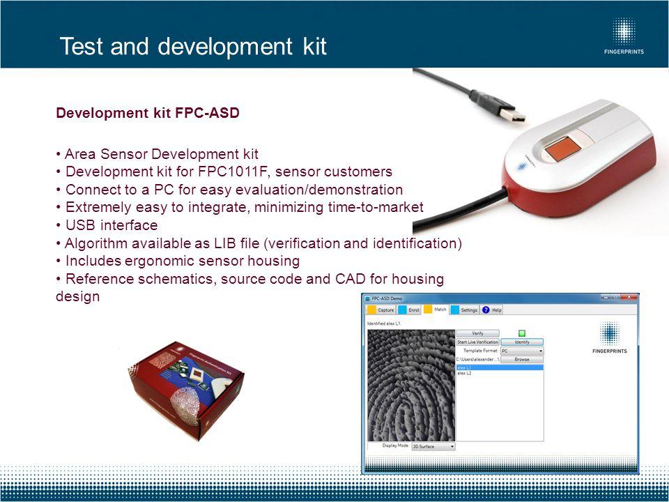 Development kit FPC-ASD Area Sensor Development kit Development kit for FPC1011F, sensor customers Connect to a PC for easy evaluation/demonstration E