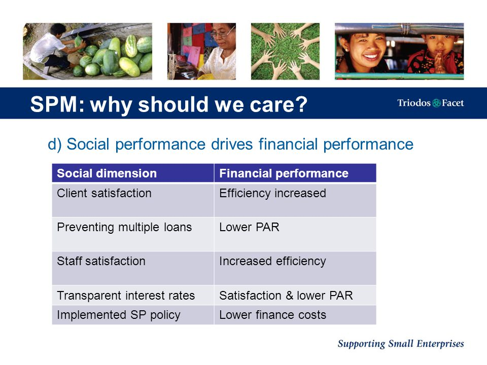 d) Social performance drives financial performance SPM: why should we care? Social dimensionFinancial performance Client satisfactionEfficiency increa