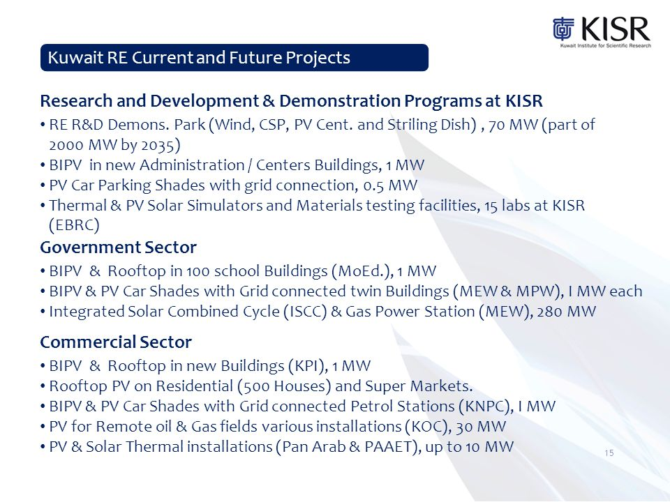 Kuwait RE Current and Future Projects Research and Development & Demonstration Programs at KISR RE R&D Demons.