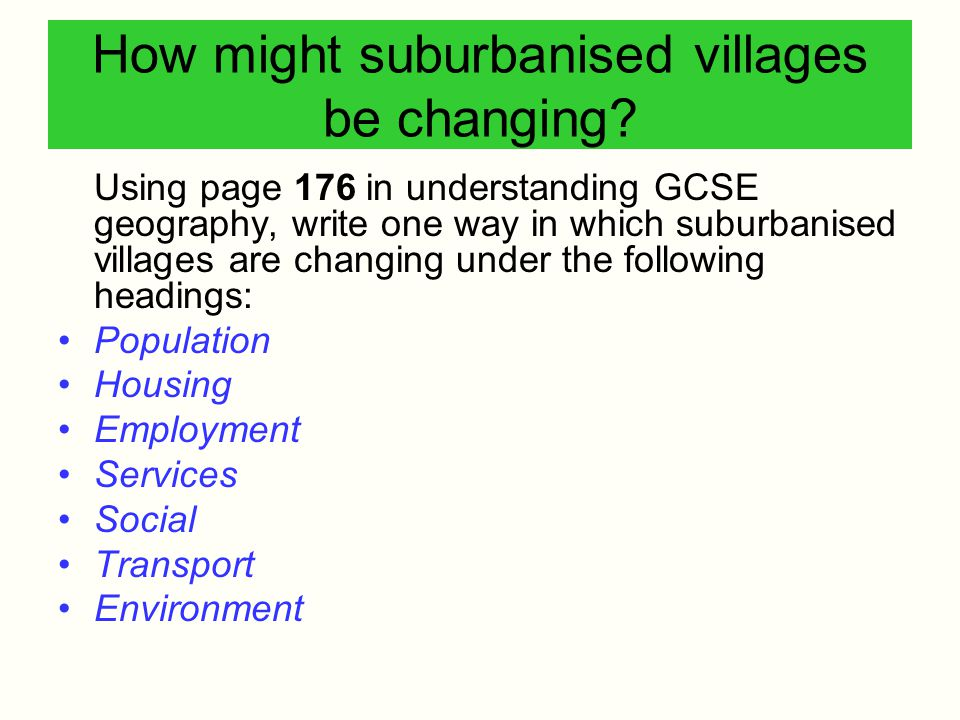 How might suburbanised villages be changing? Using page 176 in understanding GCSE geography, write one way in which suburbanised villages are changing