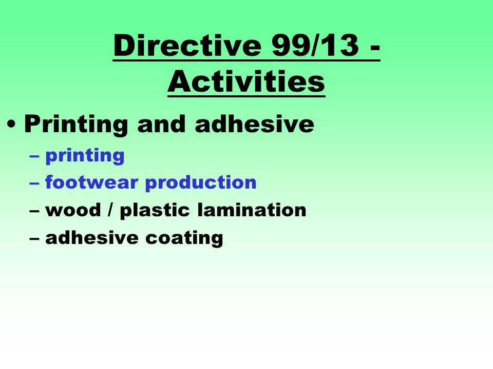 Directive 99/13 - Activities Printing and adhesive –printing –footwear production –wood / plastic lamination –adhesive coating