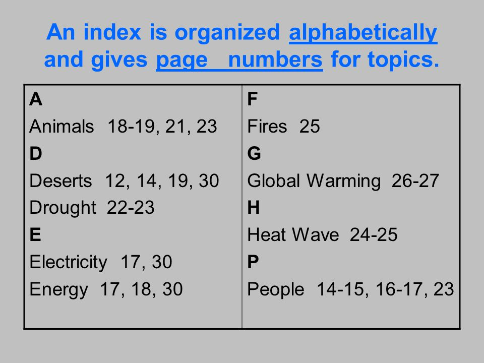 An index is organized alphabetically and gives page numbers for topics.