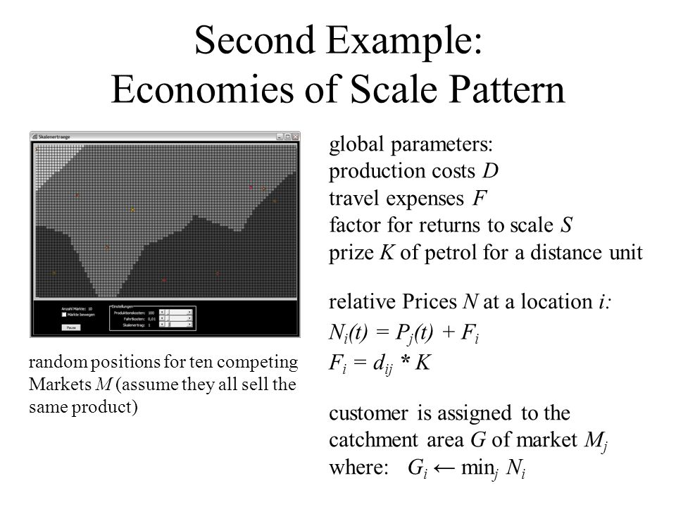Second Example: Economies of Scale Pattern global parameters: production costs D travel expenses F factor for returns to scale S prize K of petrol for a distance unit random positions for ten competing Markets M (assume they all sell the same product) relative Prices N at a location i: N i (t) = P j (t) + F i F i = d ij * K customer is assigned to the catchment area G of market M j where: G i ← min j N i