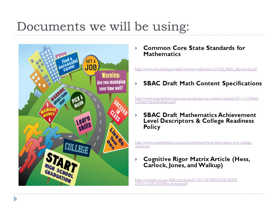 Content Specifications 1.Create a bridge between standards, assessment, and instruction 2.