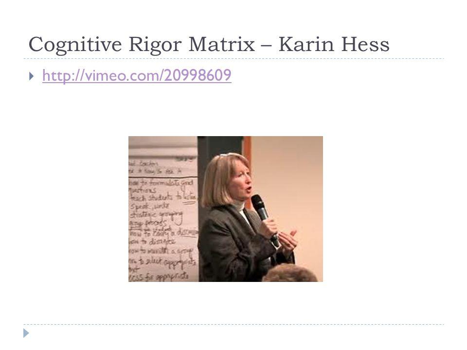 Cognitive Rigor Matrix – Karin Hess  http://vimeo.com/20998609 http://vimeo.com/20998609