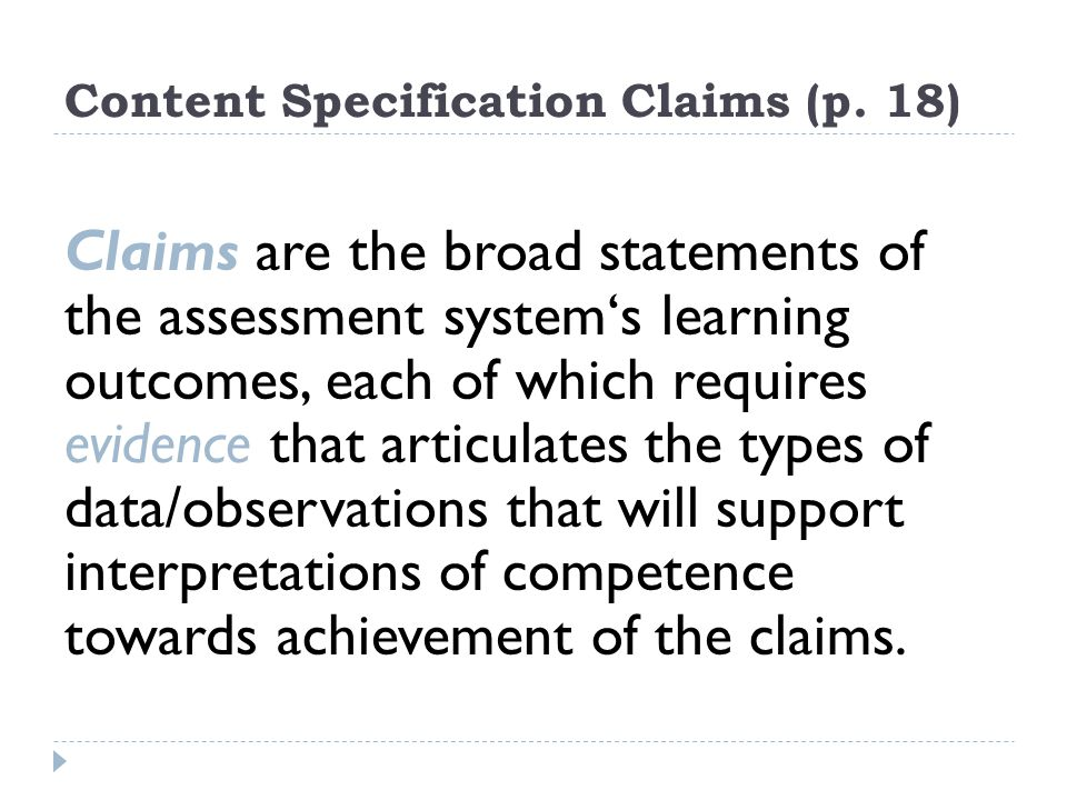 Content Specification Claims (p.