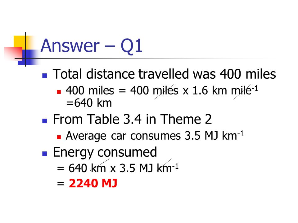 Answer – Q1 Total distance travelled was 400 miles 400 miles = 400 miles x 1.6 km mile -1 =640 km From Table 3.4 in Theme 2 Average car consumes 3.5 M