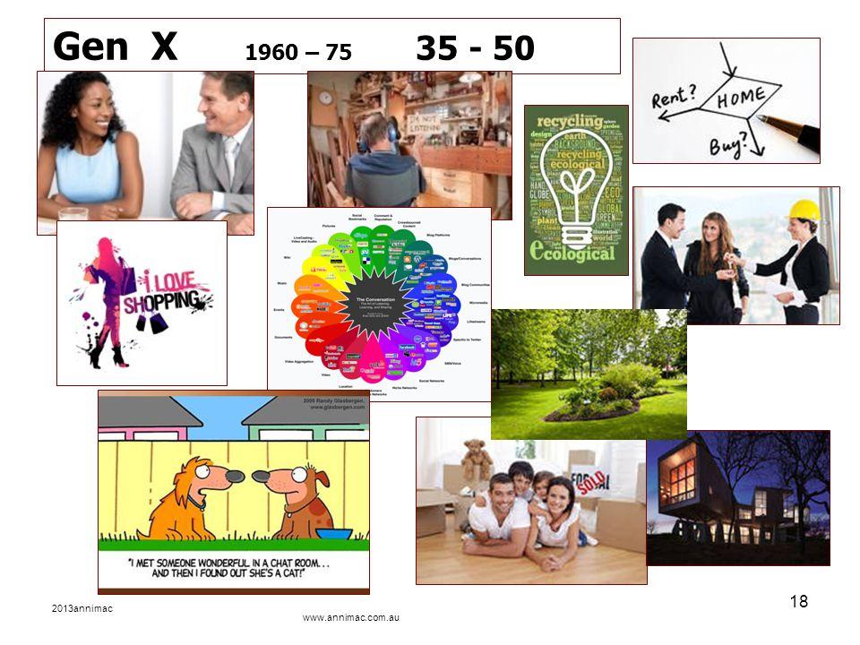 2013annimac www.annimac.com.au 18 Gen X 1960 – 75 35 - 50