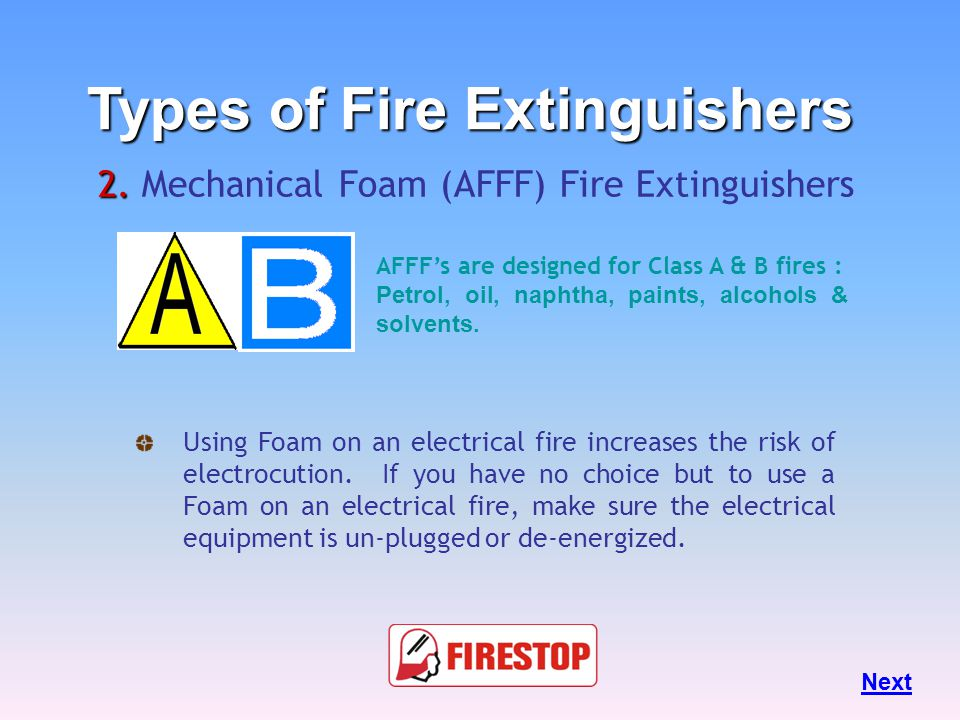 """Mechanical Foam (Afff) extinguish fire by taking away the """"heat"""" & """"Oxygen"""" element of the Fire Triangle. 2. 2. Mechanical Foam (AFFF) Fire Extinguish"""