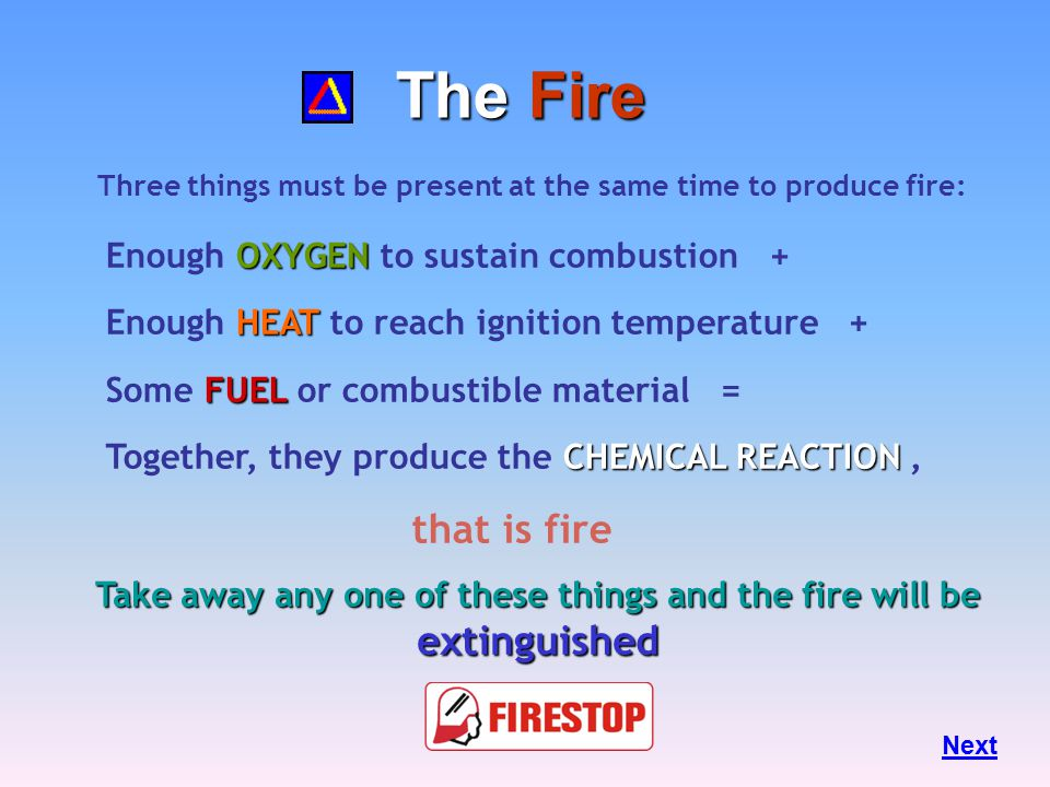 The Fire Triangle Fire Safety, at its most basic, is based upon the principle of keeping fuel sources and ignition sources separate. Next