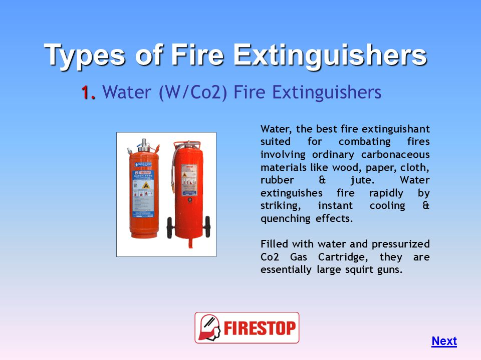 Types of Fire Extinguishers Different types of fire extinguishers are designed to fight different classes of fire.