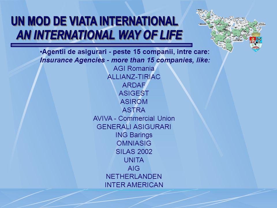 Agentii de asigurari - peste 15 companii, intre care: Insurance Agencies - more than 15 companies, like: AGI Romania ALLIANZ-TIRIAC ARDAF ASIGEST ASIROM ASTRA AVIVA - Commercial Union GENERALI ASIGURARI ING Barings OMNIASIG SILAS 2002 UNITA AIG NETHERLANDEN INTER AMERICAN