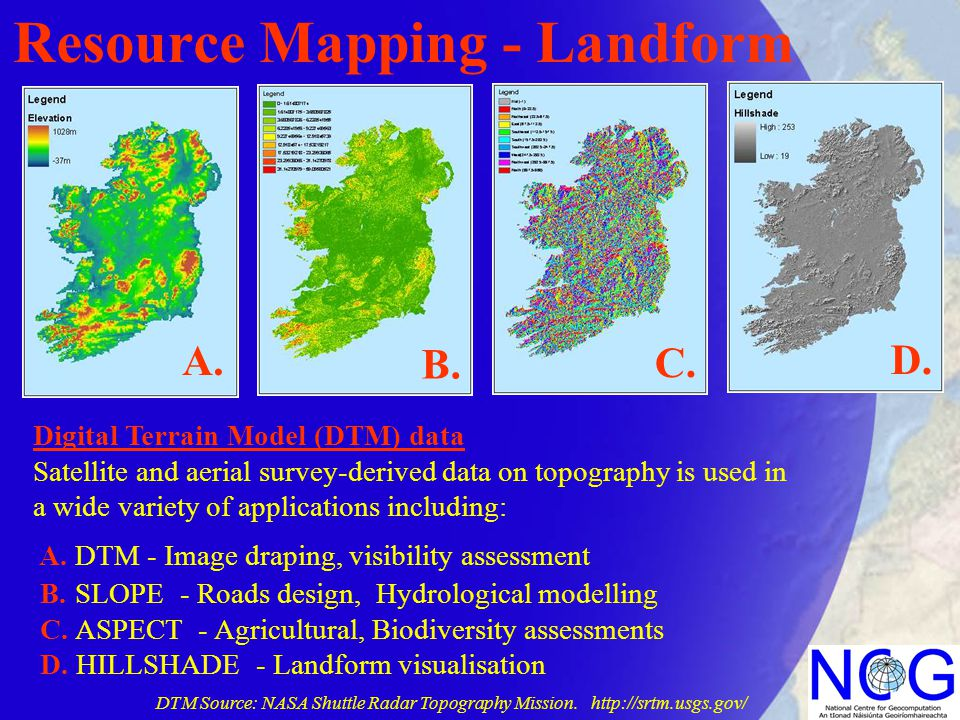 Resource Mapping - Landform Digital Terrain Model (DTM) data Satellite and aerial survey-derived data on topography is used in a wide variety of appli