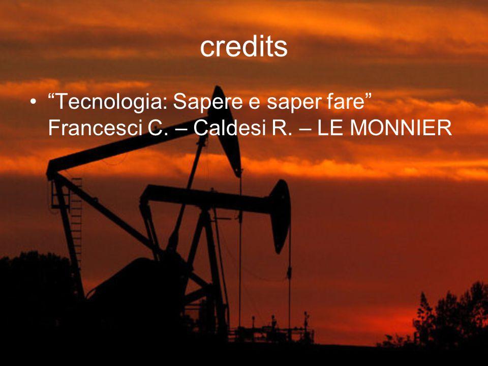 """credits """"Tecnologia: Sapere e saper fare"""" Francesci C. – Caldesi R. – LE MONNIER"""