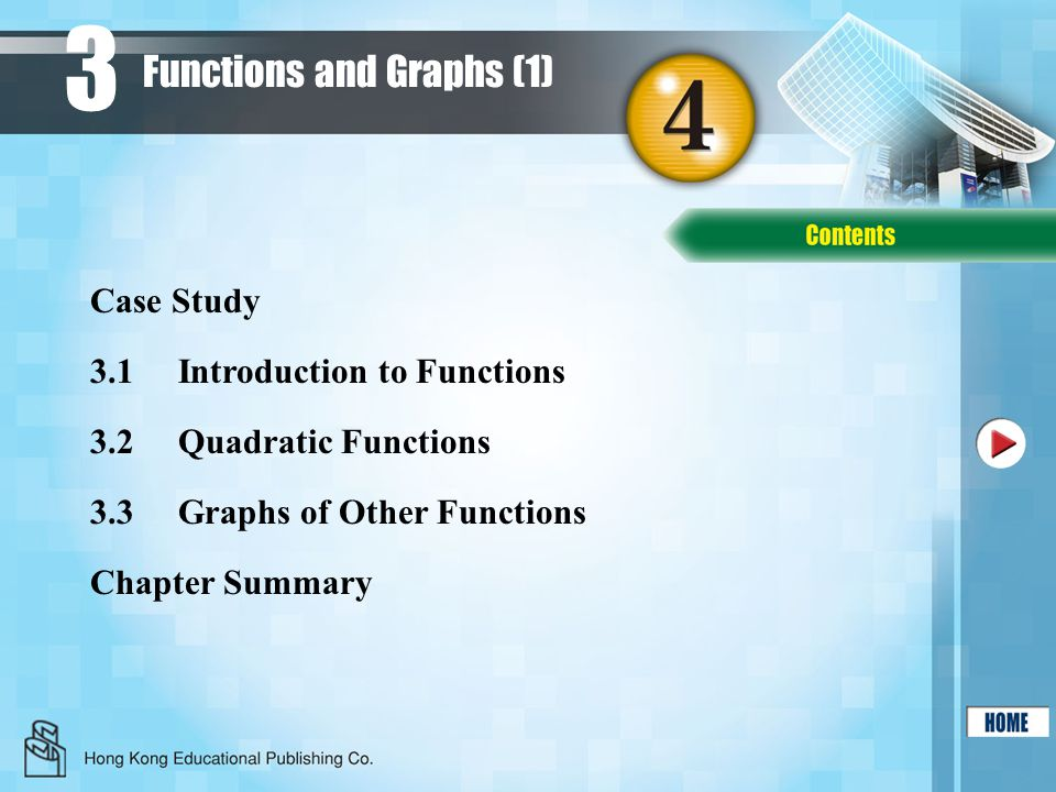 3 3.1Introduction to Functions 3.2Quadratic Functions 3.3Graphs of Other Functions Chapter Summary Case Study Functions and Graphs (1)