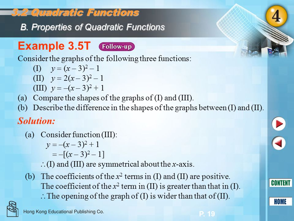 P. 19 Example 3.5T Consider the graphs of the following three functions: (I)y  (x – 3) 2 – 1 (II) y  2(x – 3) 2 – 1 (III)y  –(x – 3) 2 + 1 (a)Compa