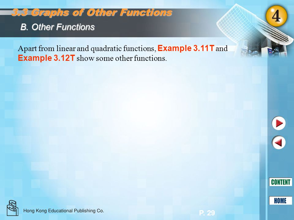 P. 29 B. Other Functions 3.3 Graphs of Other Functions Apart from linear and quadratic functions, Example 3.11T and Example 3.12T show some other func