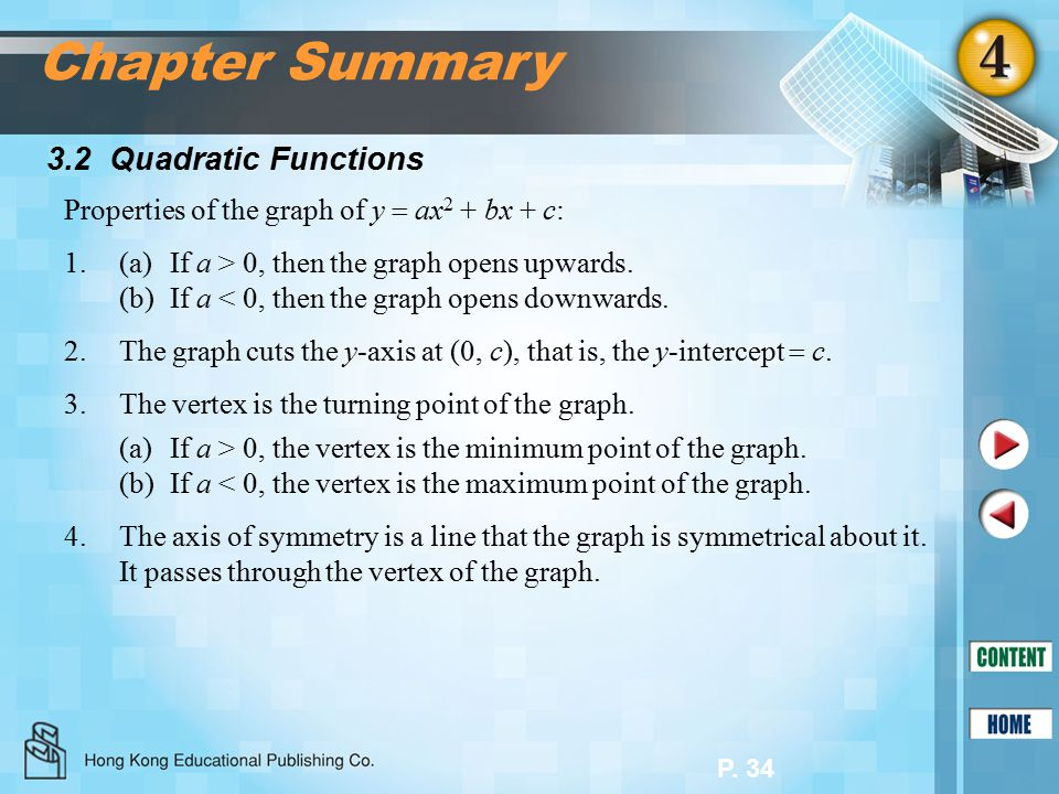 P. 34 3.2 Quadratic Functions Chapter Summary Properties of the graph of y  ax 2 + bx + c: 1.(a)If a > 0, then the graph opens upwards. (b)If a < 0,