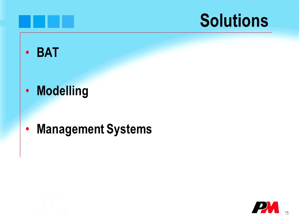 15 Solutions BAT Modelling Management Systems