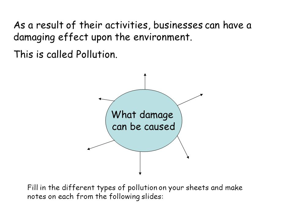 What damage can be caused As a result of their activities, businesses can have a damaging effect upon the environment.