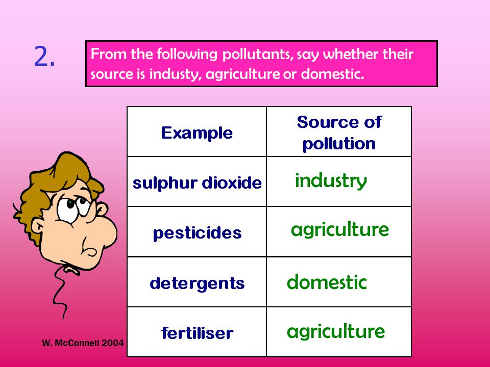 W. McConnell 2004 Kinross High School 2. From the following pollutants, say whether their source is industy, agriculture or domestic. industry agricul