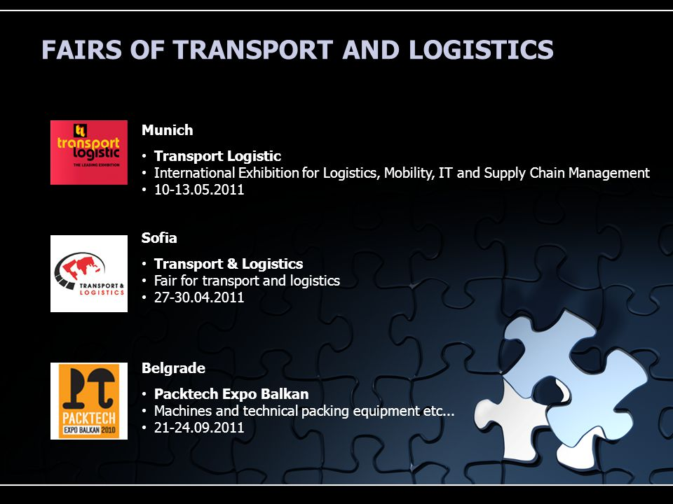 FAIRS OF TRANSPORT AND LOGISTICS Munich Transport Logistic International Exhibition for Logistics, Mobility, IT and Supply Chain Management 10-13.05.2011 Sofia Transport & Logistics Fair for transport and logistics 27-30.04.2011 Belgrade Packtech Expo Balkan Machines and technical packing equipment etc...