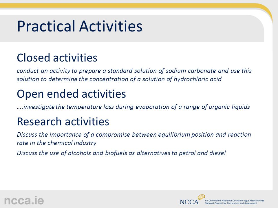 Practical Activities Closed activities conduct an activity to prepare a standard solution of sodium carbonate and use this solution to determine the c