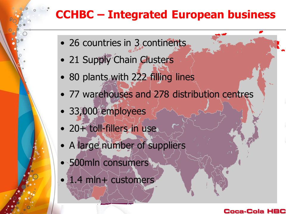 26 countries in 3 continents 21 Supply Chain Clusters 80 plants with 222 filling lines 77 warehouses and 278 distribution centres 33,000 employees 20+