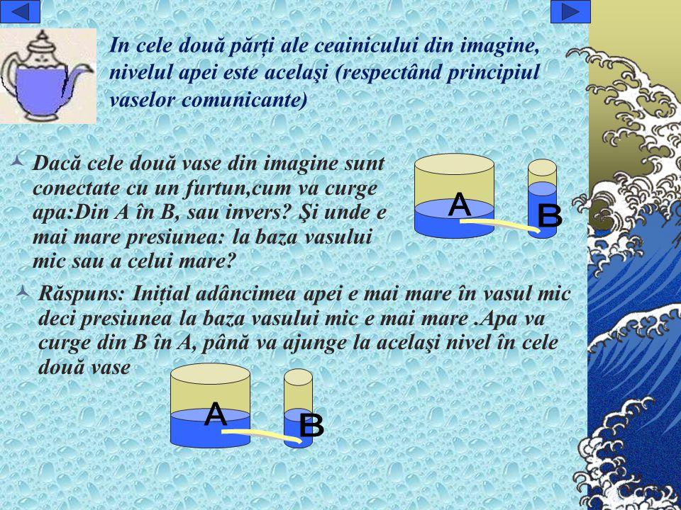 In cele două părţi ale ceainicului din imagine, nivelul apei este acelaşi (respectând principiul vaselor comunicante) Dacă cele două vase din imagine sunt conectate cu un furtun,cum va curge apa:Din A în B, sau invers.