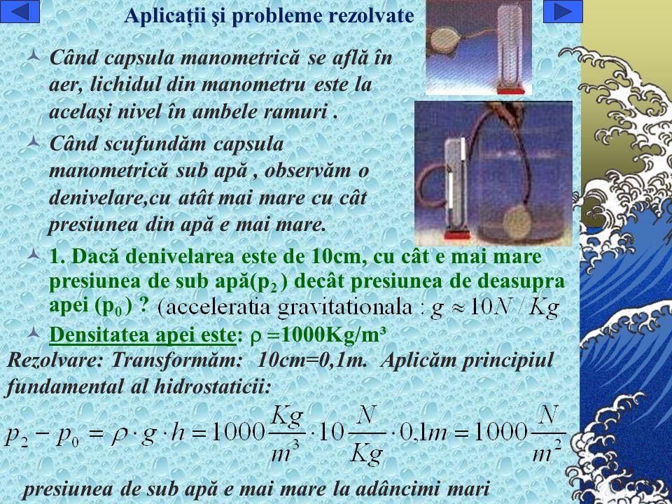 Aplicaţii şi probleme rezolvate Când capsula manometrică se află în aer, lichidul din manometru este la acelaşi nivel în ambele ramuri.