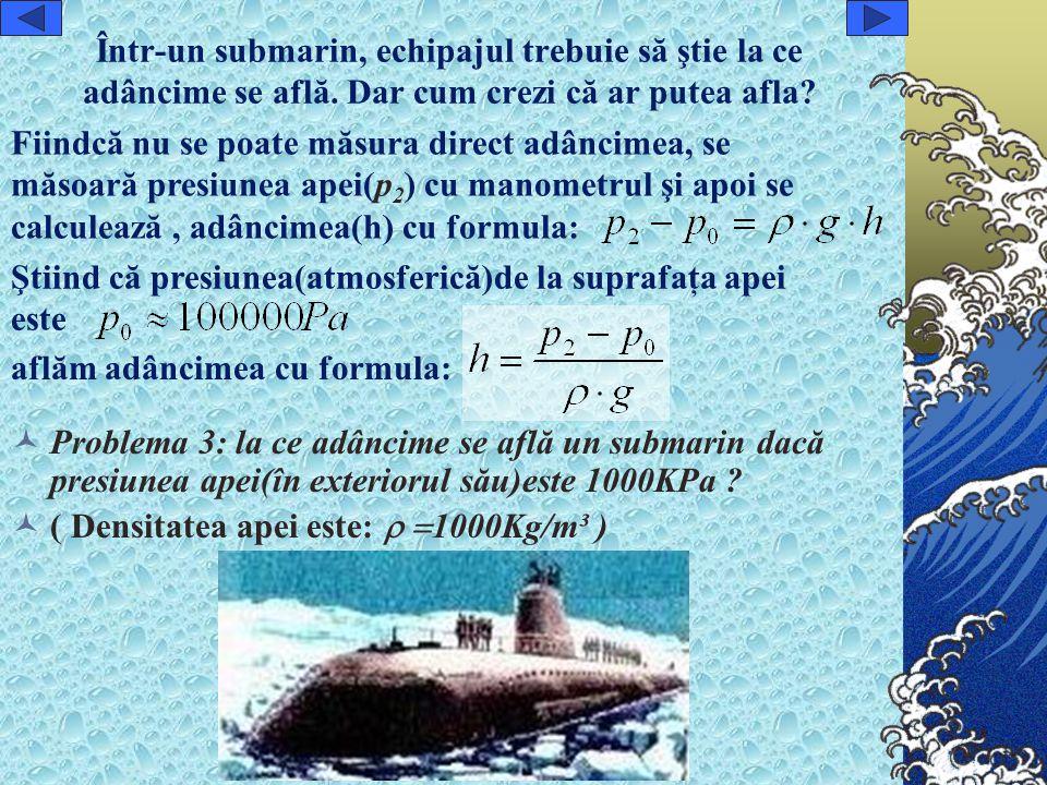 Într-un submarin, echipajul trebuie să ştie la ce adâncime se află.