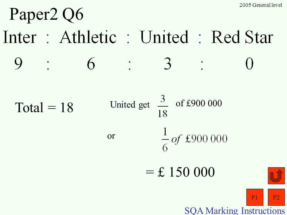 P1P2 SQA Marking Instructions 2005 General level Paper2 Q5 (a) (b)