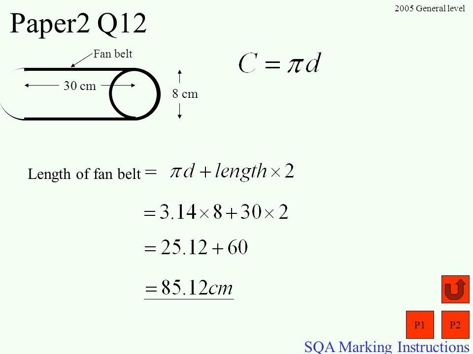 P1P2 SQA Marking Instructions 2005 General level Paper2 Q11 Ye Olde Shoppe 90 cm 35 cm C B 90 cm SOHCAHTOA O TA = 0.389 x o = tan –1 (0.389) = 21.3 o