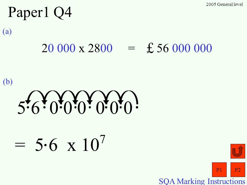 P1P2 SQA Marking Instructions 2005 General level Paper1 Q3 (a) (b) (c) (d) Shape 1 Shape 2Shape 3Shape 4 131725 Number of matches = Shape numberx 4+ 1