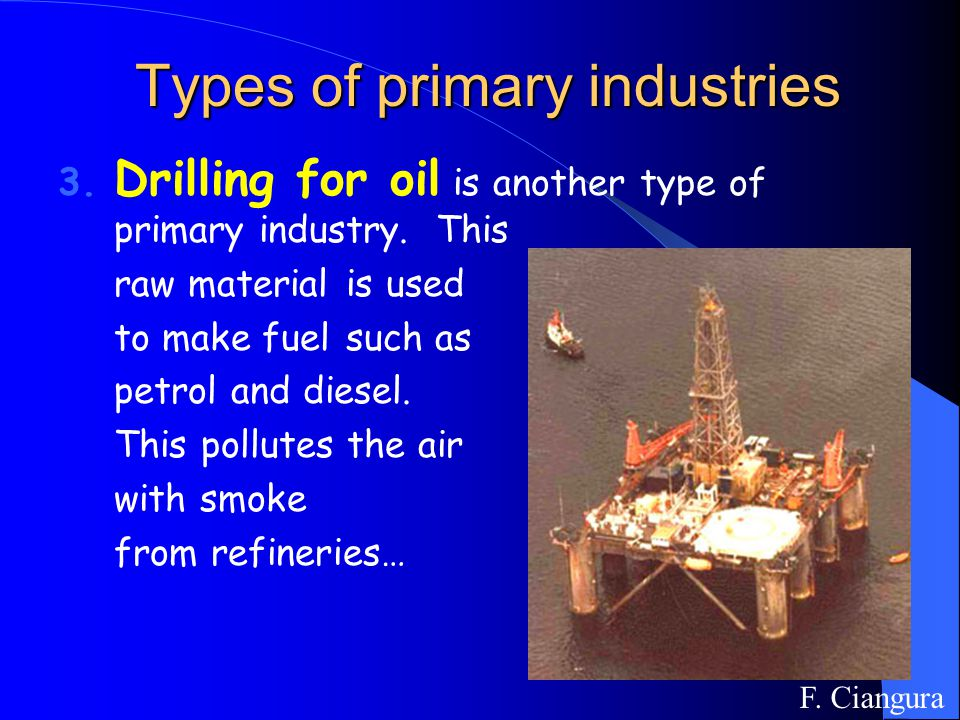 3. Drilling for oil is another type of primary industry.