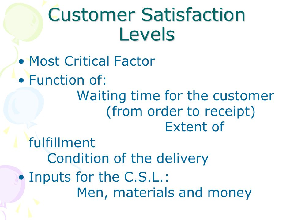 Customer Satisfaction Levels Most Critical Factor Function of: Waiting time for the customer (from order to receipt) Extent of fulfillment Condition o
