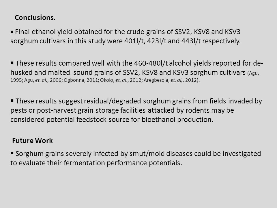 Conclusions.  Final ethanol yield obtained for the crude grains of SSV2, KSV8 and KSV3 sorghum cultivars in this study were 401l/t, 423l/t and 443l/t