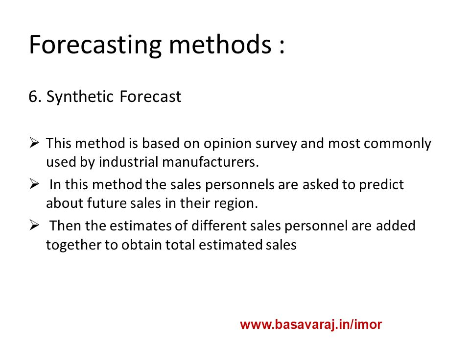 Forecasting methods : 6.