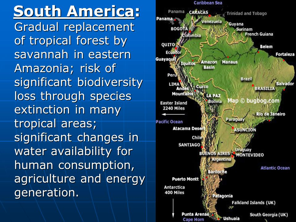 15 South America: Gradual replacement of tropical forest by savannah in eastern Amazonia; risk of significant biodiversity loss through species extinc