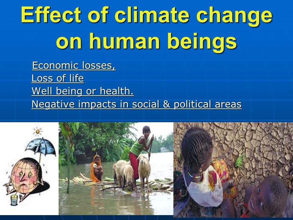 20 Effect of climate change on human beings E E E E E cccc oooo nnnn oooo mmmm iiii cccc l l l l oooo ssss ssss eeee ssss, Loss of life Well being or