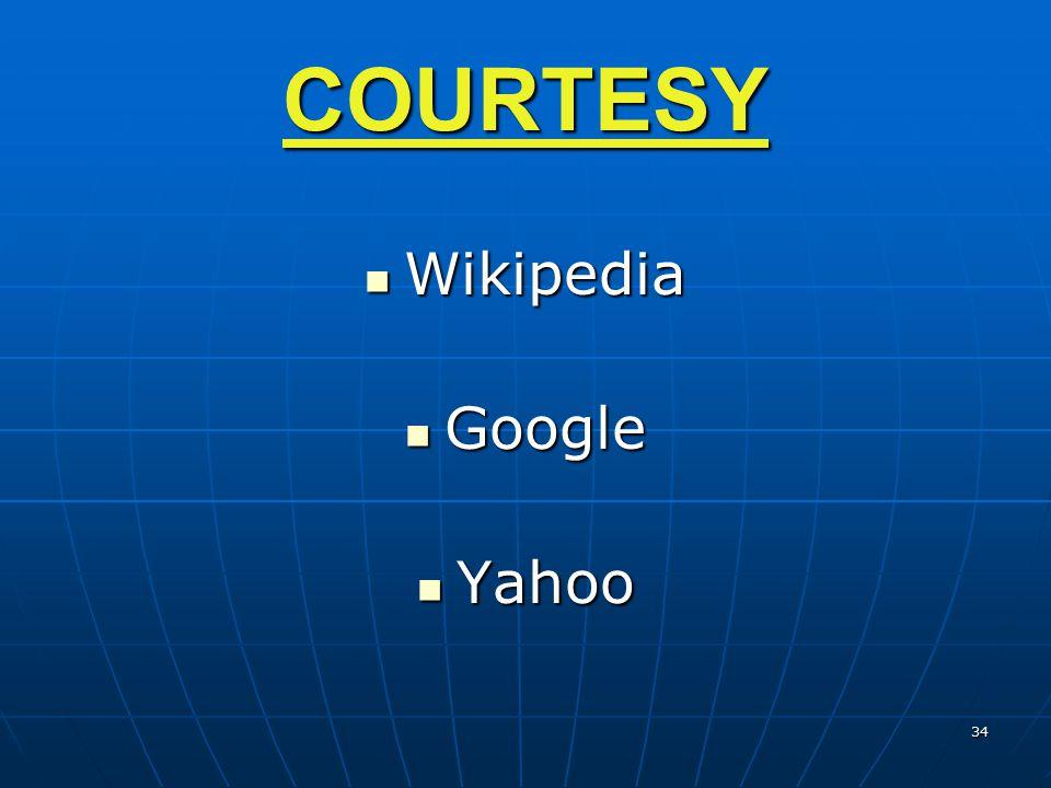 COURTESY Wikipedia Wikipedia Google Google Yahoo Yahoo 34