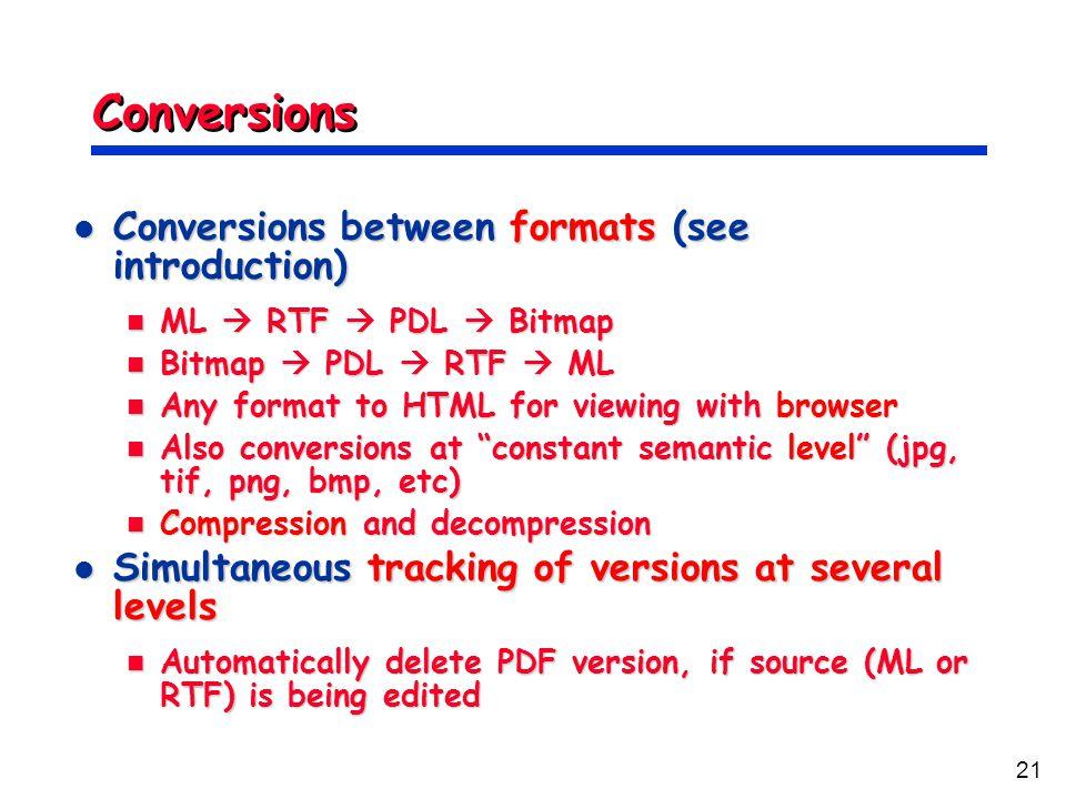21 Conversions Conversions between formats (see introduction) Conversions between formats (see introduction) ML  RTF  PDL  Bitmap ML  RTF  PDL 