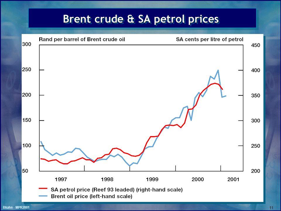 Bkahn - MPR2001 11 Brent crude & SA petrol prices