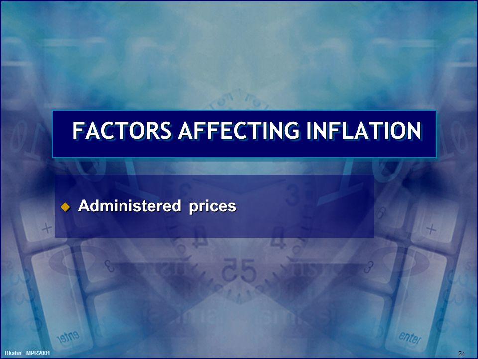 Bkahn - MPR2001 24 FACTORS AFFECTING INFLATION u Administered prices