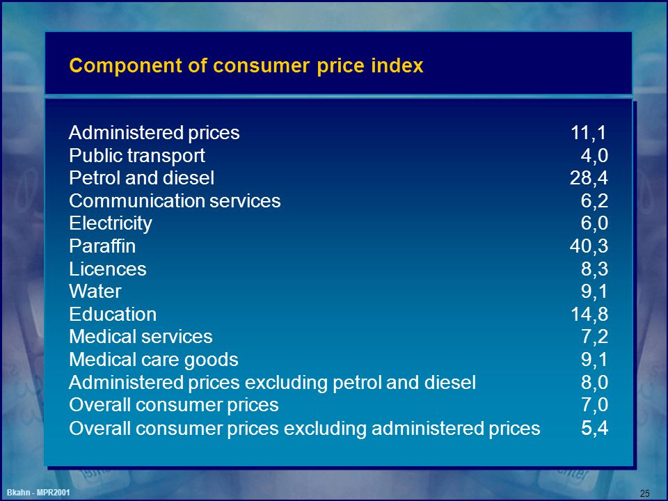Bkahn - MPR2001 25 Component of consumer price index Administered prices11,1 Public transport 4,0 Petrol and diesel28,4 Communication services 6,2 Electricity 6,0 Paraffin40,3 Licences 8,3 Water 9,1 Education14,8 Medical services 7,2 Medical care goods 9,1 Administered prices excluding petrol and diesel 8,0 Overall consumer prices 7,0 Overall consumer prices excluding administered prices 5,4
